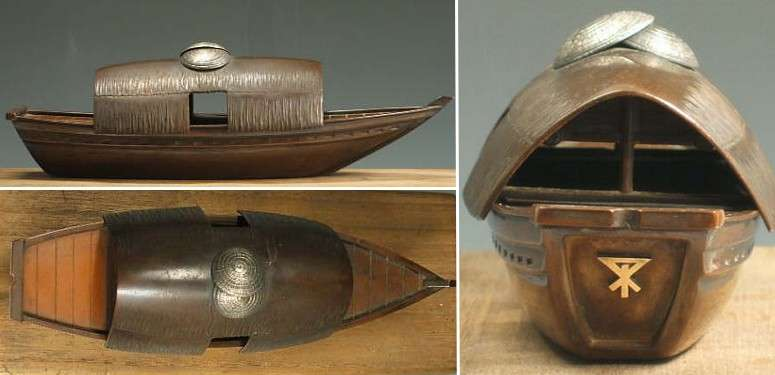 Japan Bronze Boat Incense burner