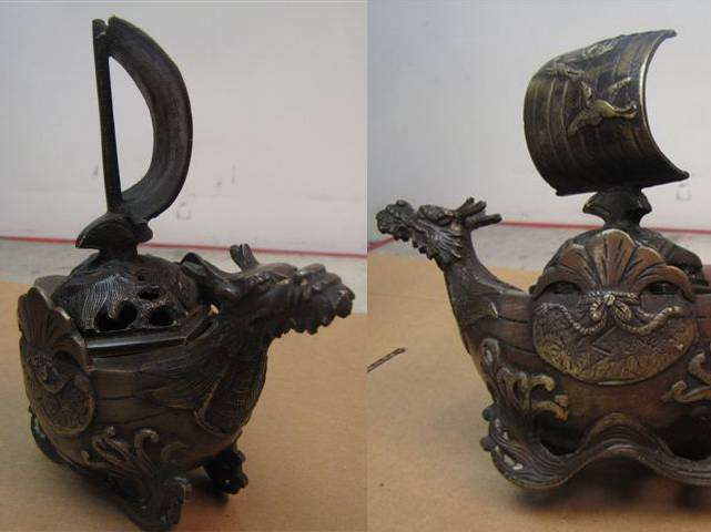 Asia Bronze Boat : Dragon Incense burner